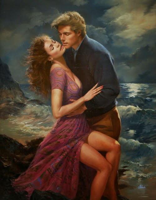 Images of beautiful and romantic couples kissing in paintings