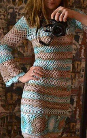 Patrón #1803: Vestido a Dos Colores a Ganchillo
