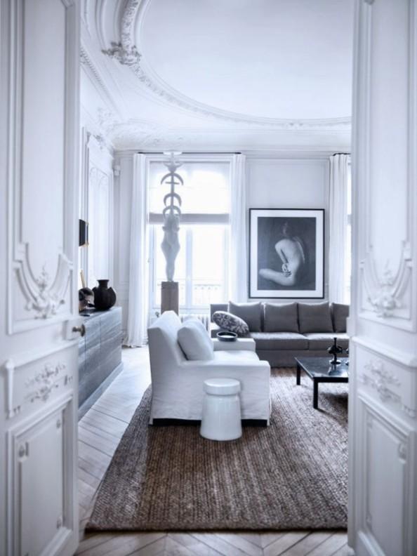 salon pintado y decorado en blanco chicanddeco