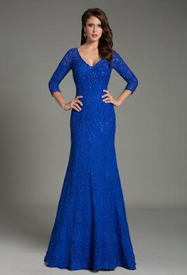Vestidos de Noche Azul Rey