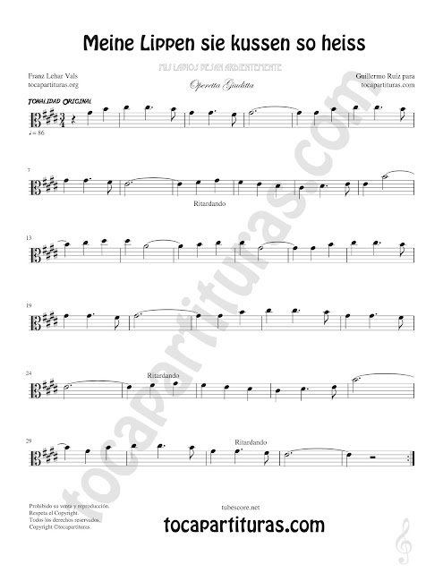 Viola Partitura de Opera Meine Lippen sie kussen so heiss Sheet Music for Viola Music Score