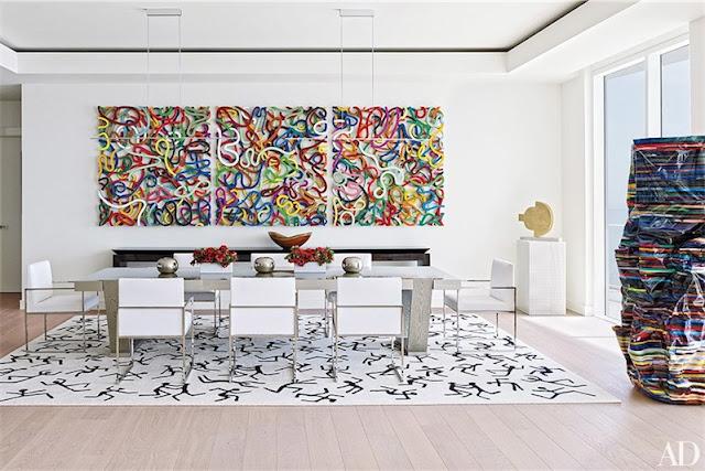 decorar el salon con cuadros de colores chicanddeco