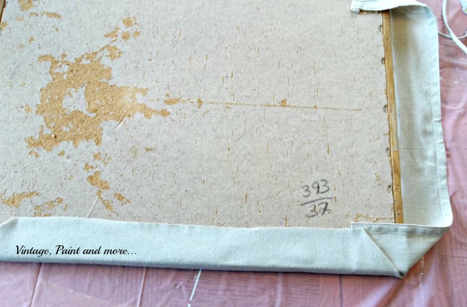 Vintage, Paint and more... upcycling an old bulletin board with drop cloth fabric