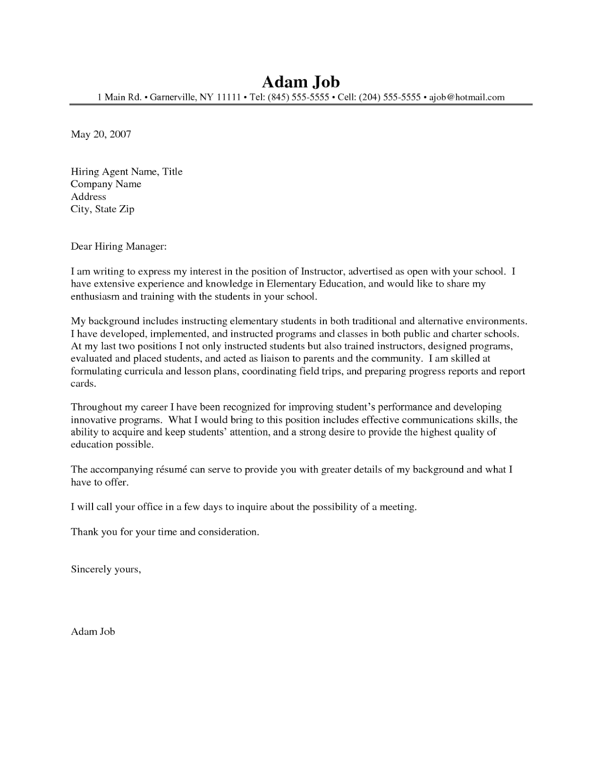 Inspirational Sample Cover Letter For Adjunct Faculty Position Resume College Instructor
