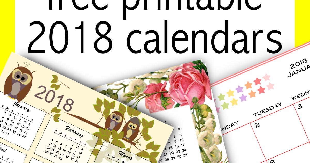 35+ Free Printable 2018 Calendars