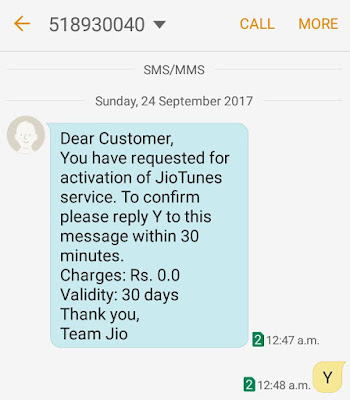 Confirm Jio caller tune activation
