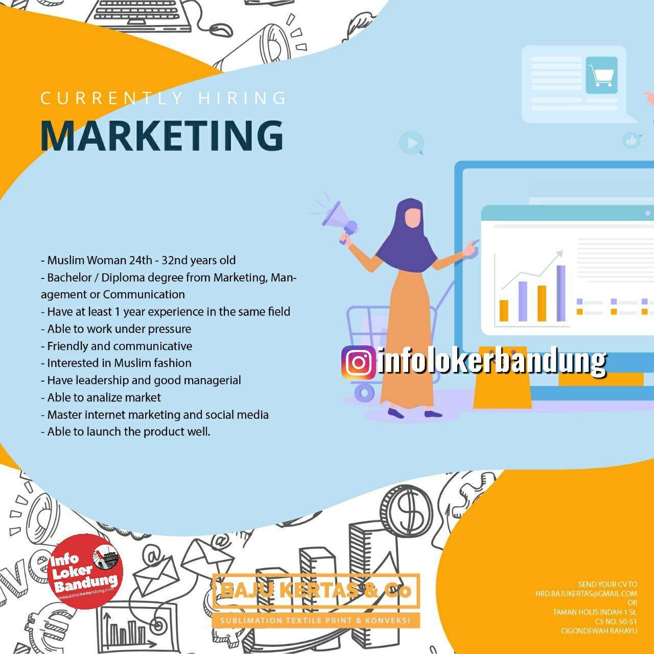 Lowongan Kerja Sebagai Marketing CV. Bajukertas Kreasindo Bandung Mei 2019
