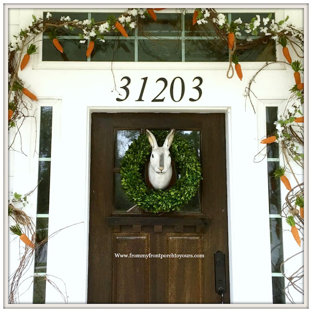 Early Spring Front Porch-Bunny Wreath-Carrot Garland-From My Front Porch To Yours