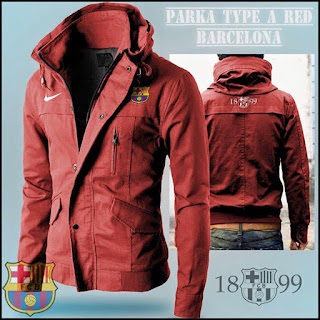 Jaket Hoodie Distro Bola Parka Barcelona Red