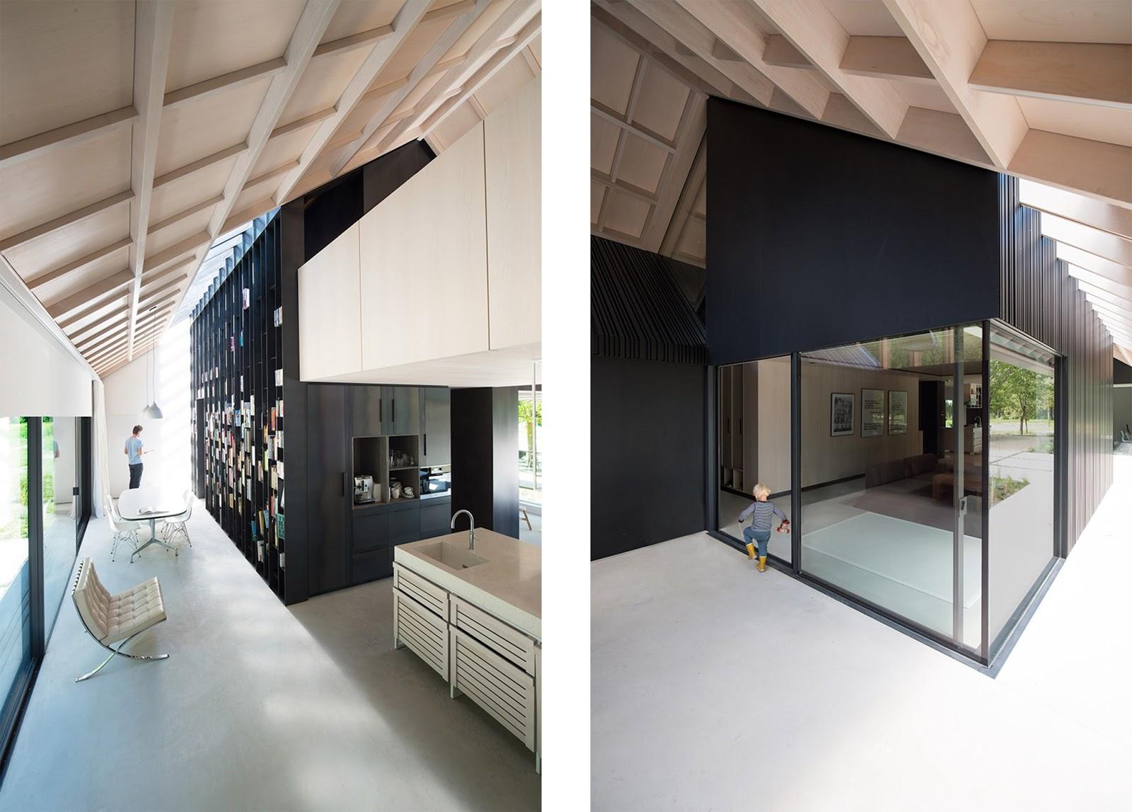 Villa schoorl a forma di tradizionale fienile olandese by for Moderni piani casa fienile