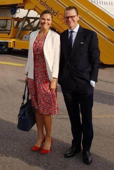 Crown Princess Victoria wore J. Crew Rudbeckia printed crepe dress. H&M white blazer and Rizzo Stockholm pumps