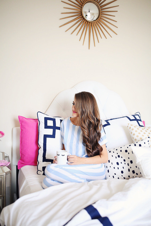 striped pajamas, navy and pink bedding