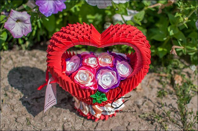 600. Kosz z kwiatami / 3d origami flower basket
