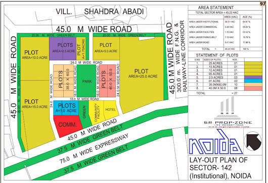 Layout Plan of Noida Sector-142 Institutional Area HD Map