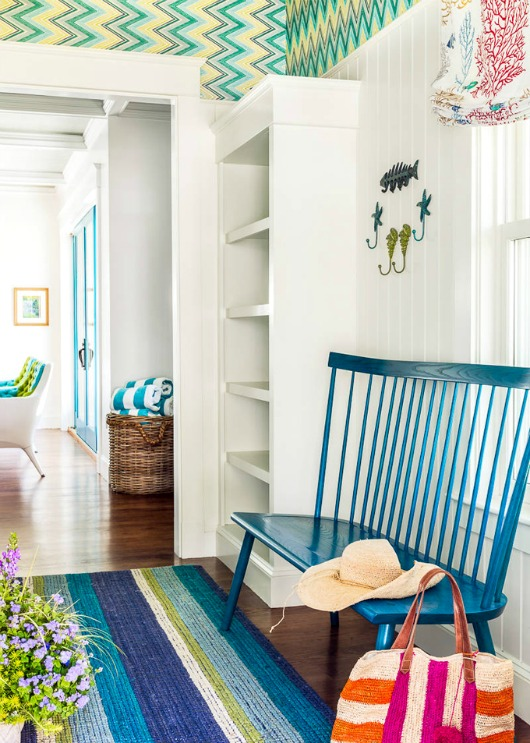 Blue and Green Entryway Foyer with Coastal Decor