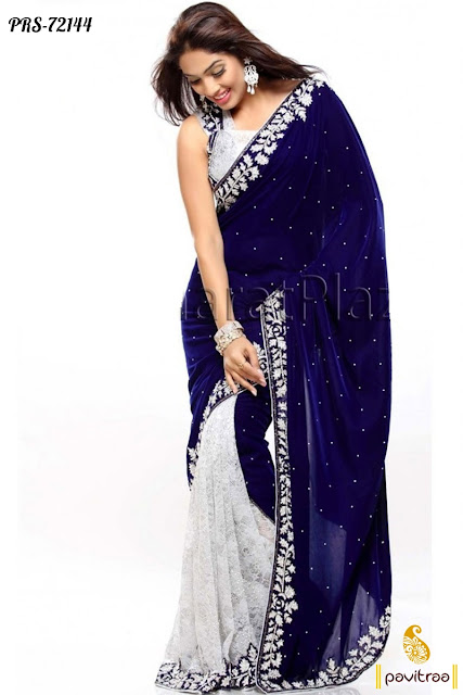 Navy blue color stylish Indian fashion sarees online collection