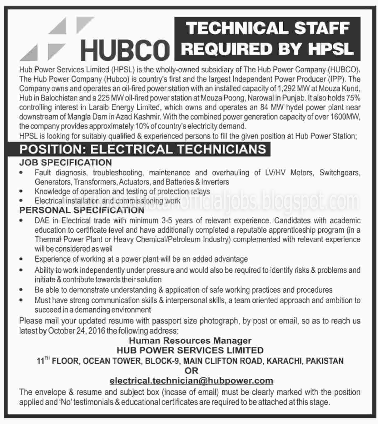 Technical Jobs in Hub Power Services Limited Karachi