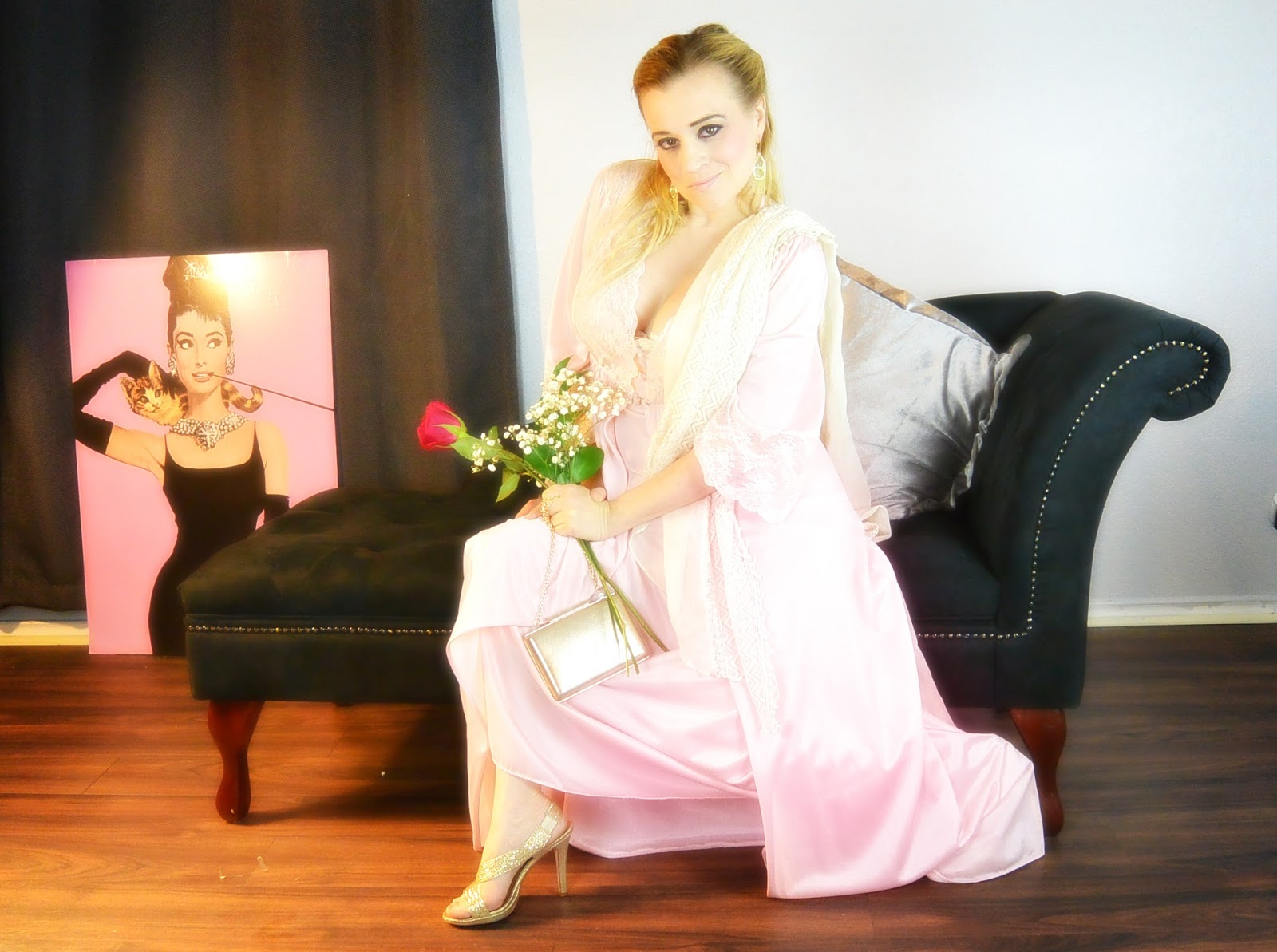 blonde modeling pink vintage silk nightgown on chaise