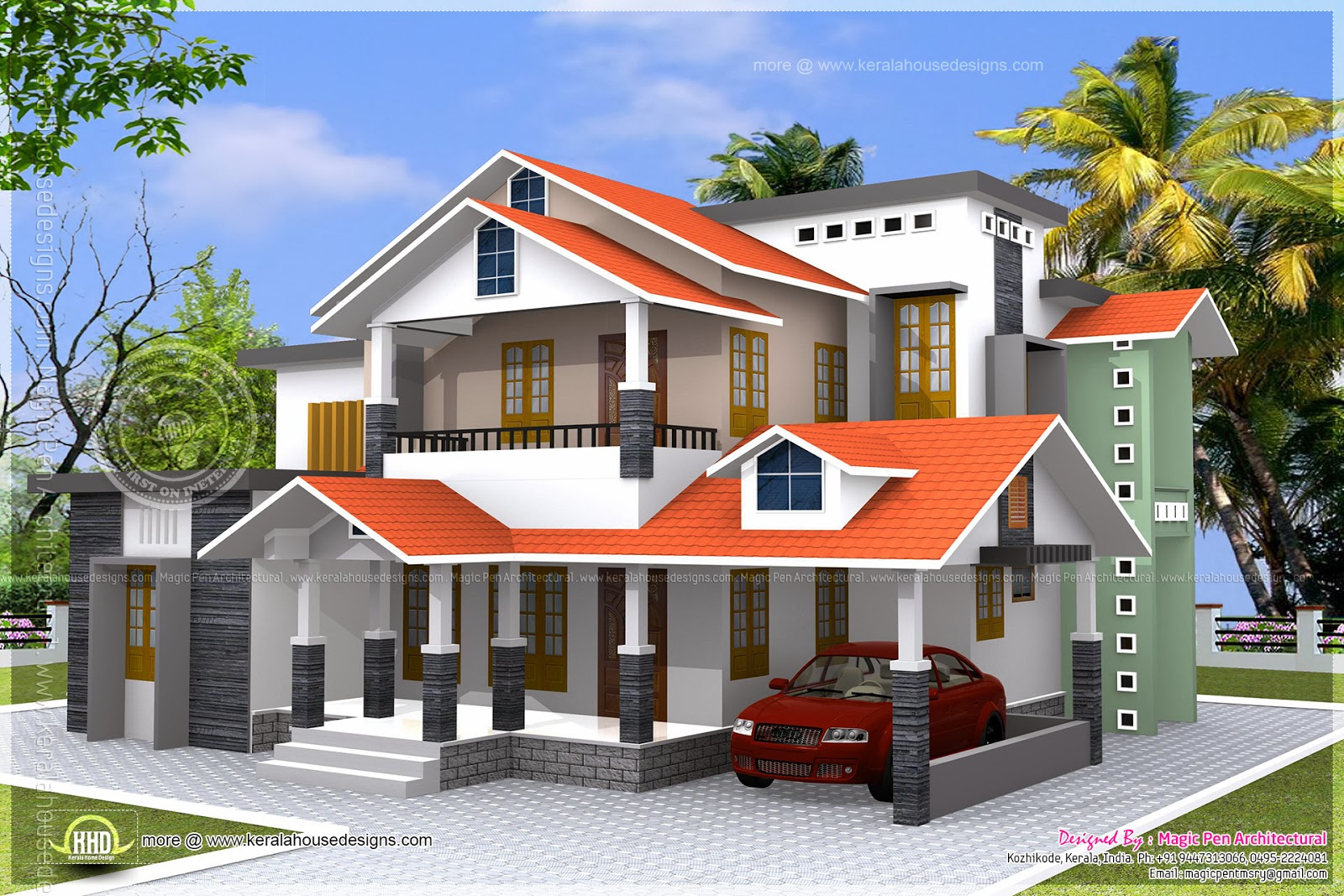 2945 square feet 4 bhk house exterior home kerala plans Kerala style house exterior designs