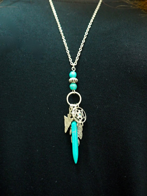Black is the new Black   outfit jewellery details of long tribal silver and aquamarine pendant necklace