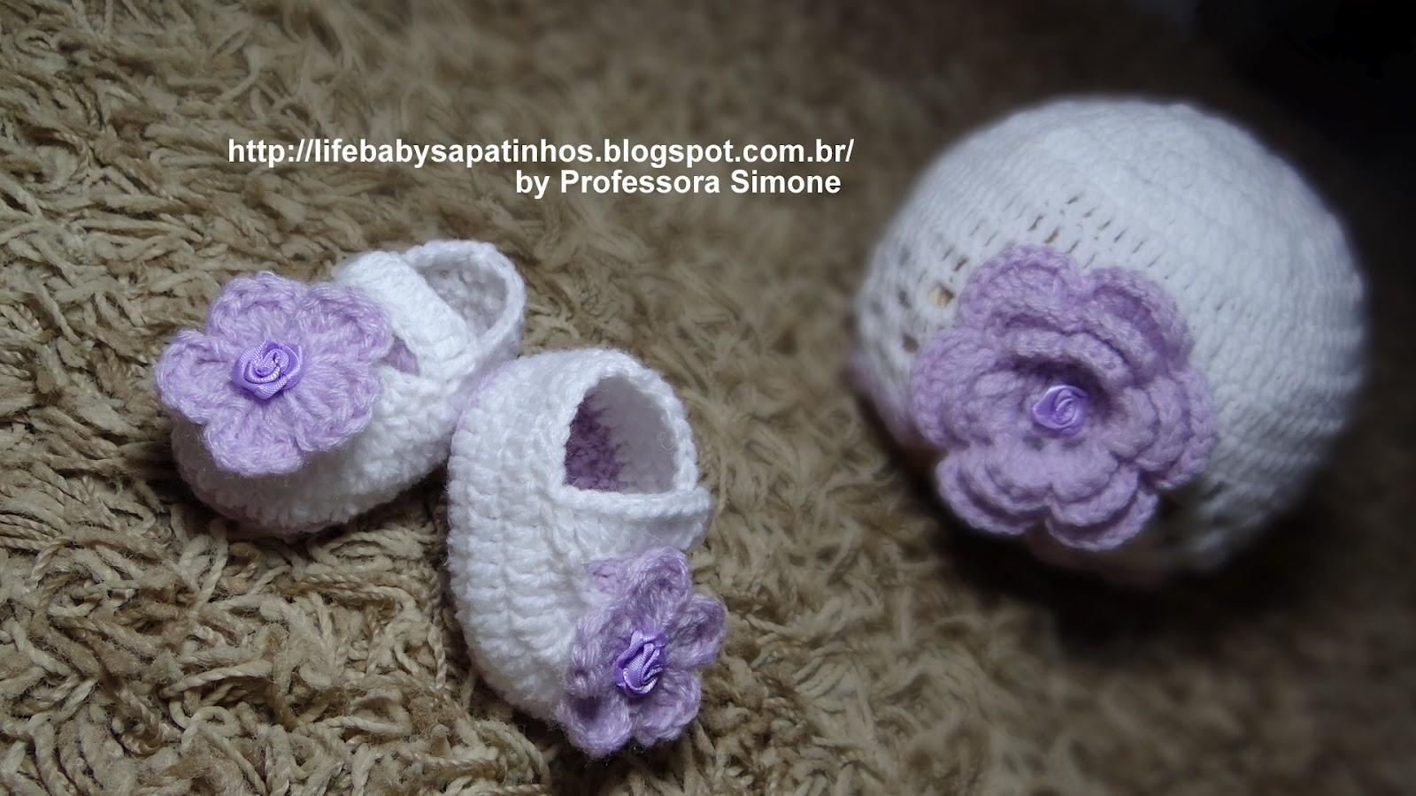 0d0c8ce80a503 Receita touca + sapatinho para Bebê em Crochê - Ateliê do Crochê