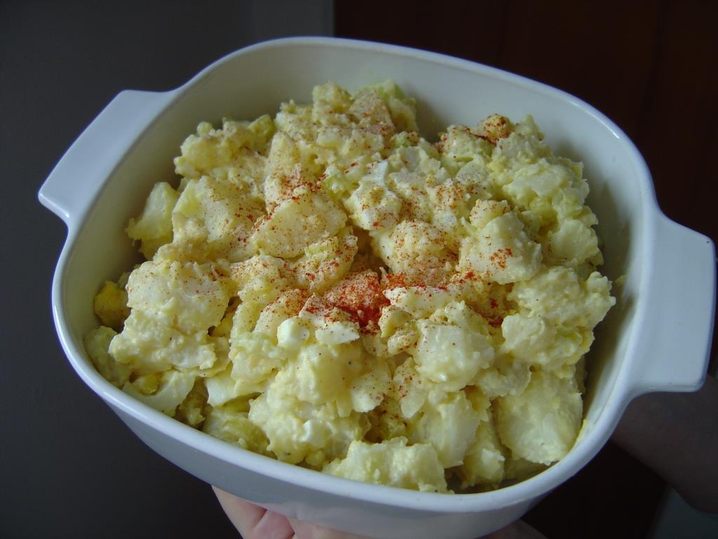 Potato Salad With Easy Blender Potato Salad Dressing in Casserole Photo