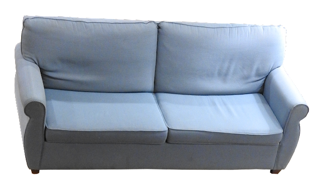 A contemporary loveseat with small wooden feet and pale blue covering.