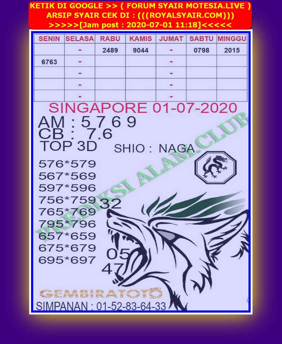 Kode syair Singapore Rabu 1 Juli 2020 116