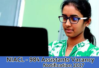 NIACL Recruitment 2017 for 984 Assistant posts apply online