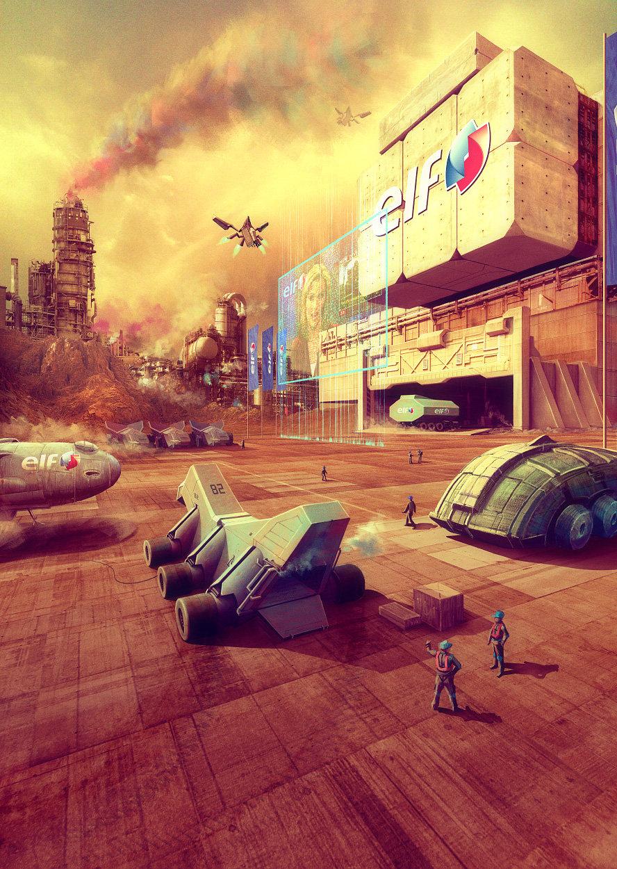 Brutalist industrial landscape on Mars by Evgeny Kazantsev