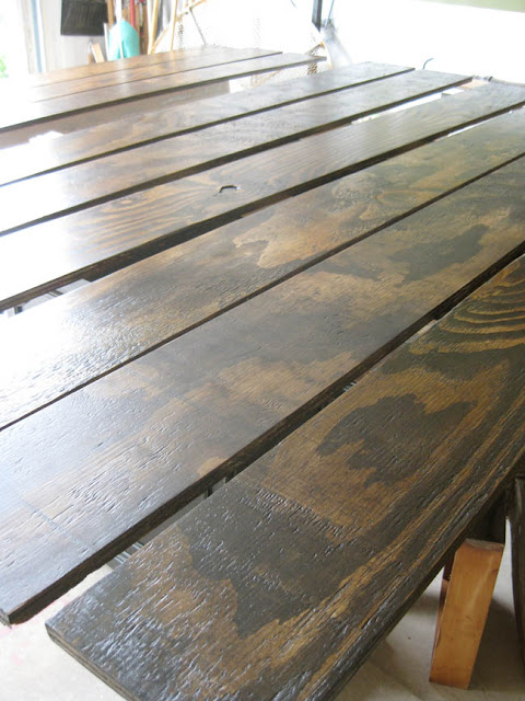 plywood stained with Varethane Wood Stain - Ash