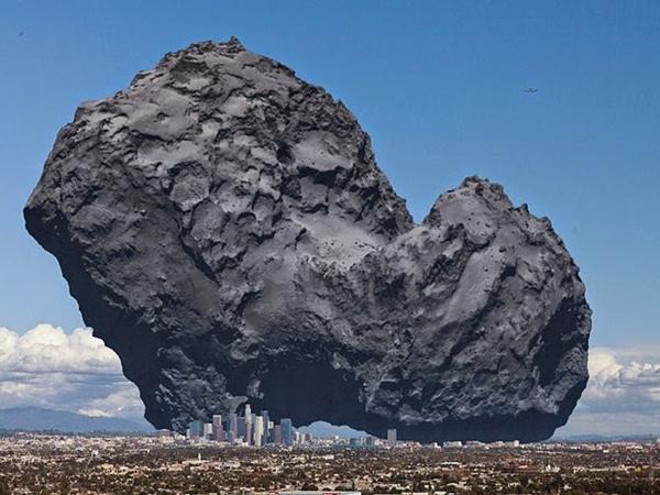 besar komet dibandingkan kota