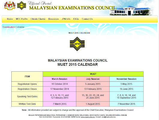 MUET:  English In Pre-University & University: MUET Schedules