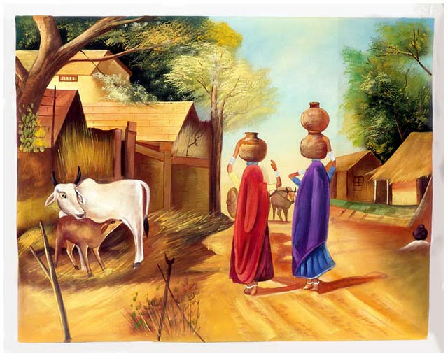 PicturesPool: Indian villages life paintings,picturesBeautiful Indian Village Paintings