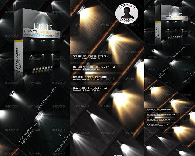 مجموعة اضائات ملف psd مفتوح يعطى التصميم جمالا خاص بحجم 24 ميجابايت