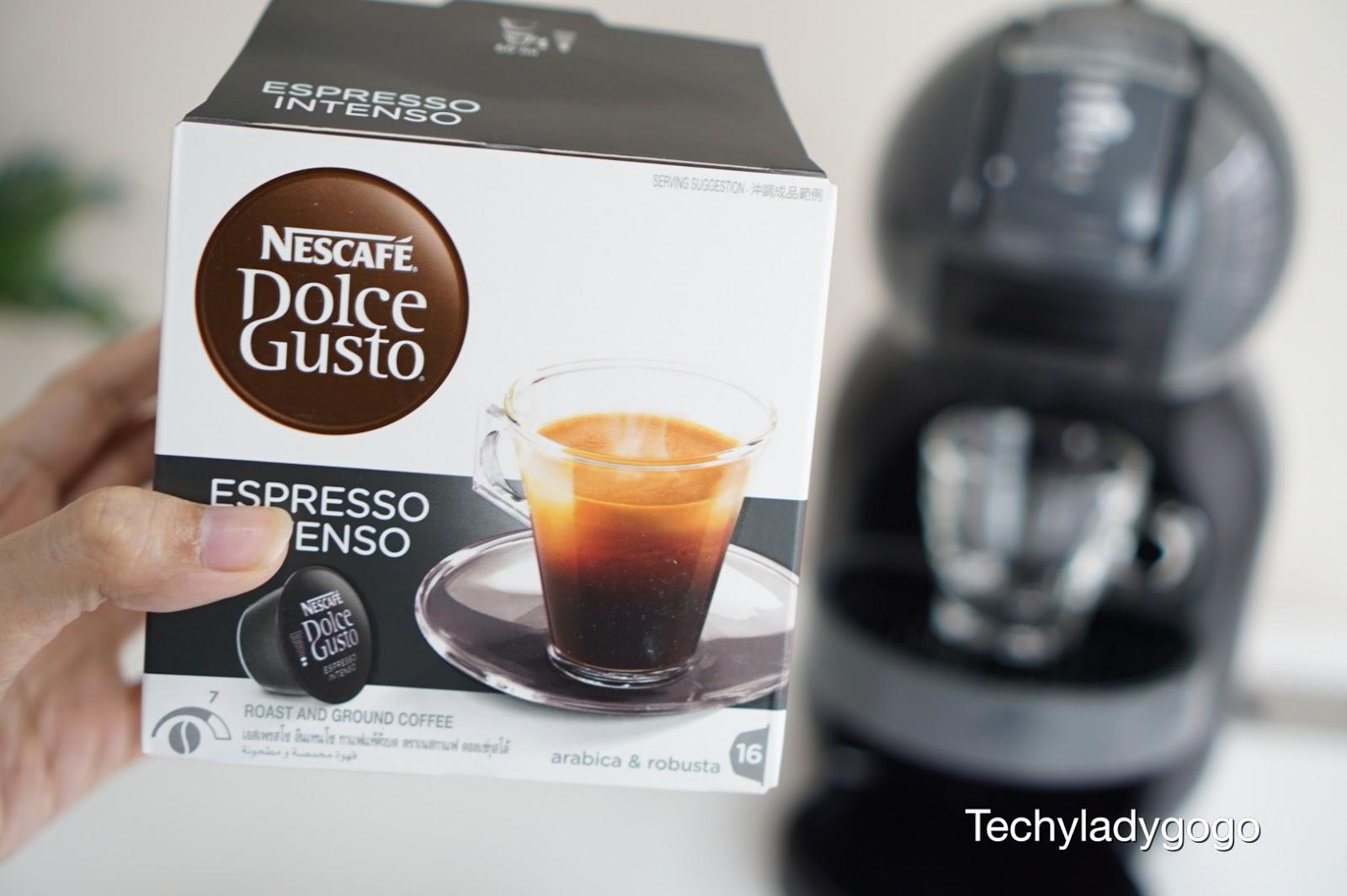 nescafe dolce gusto  ESPRESSO INTENSO เครื่องดื่มกาแฟเข้มข้นจากกาเเฟอาราบิก้าคั่วบดแท้ จะให้รสชาติที่เข้มข้น เหมาะสำหรับผู้ที่ชื่นชอบทานกาแฟรสเข้ม