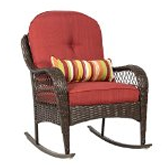 Wicker Rocking Chair Patio Porch Deck Furniture All Weather Proof with Cushions