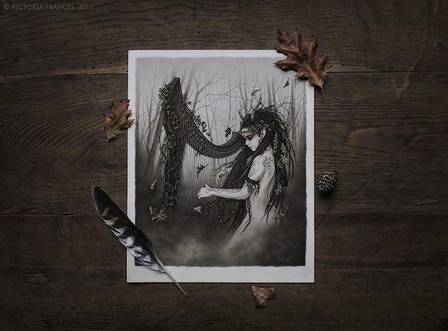 Naked Harp, Original Illustration by Victoria Francés
