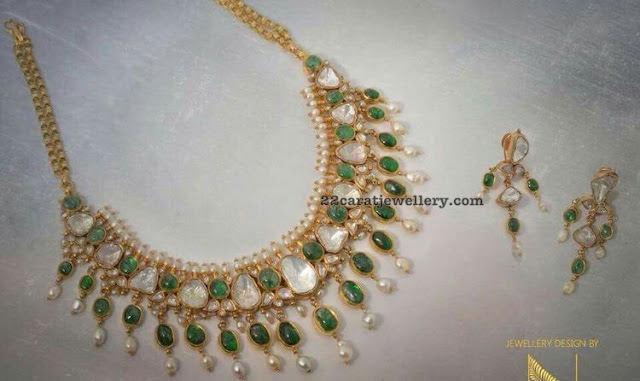 Emerald Polki Set by Nikitha Linga