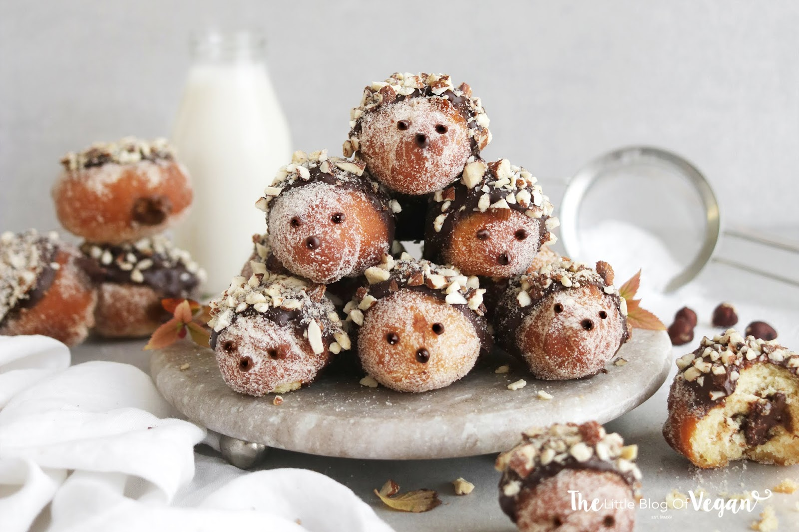 Vegan Nutella hedgehog doughnut hole recipe