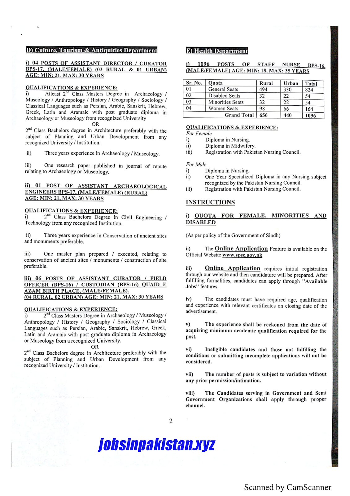 SPSC Advertisement 11/2018 Page No. 2/3