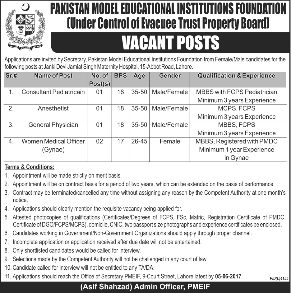 Abbot Road lahore  Jobs In Pakistan Model Education Institutions Foundation 18 May 2017