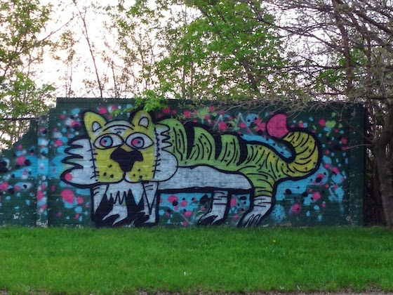 Street art of a tiger lion liger in Detroit
