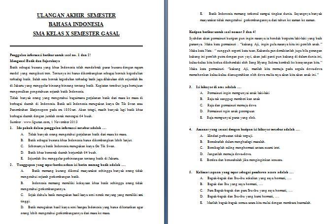Contoh Soal UAS Semester Gasal SMA Kelas X Mata Pelajaran Bahasa Indonesia Kurikulum 2013 Format Microsoft Word