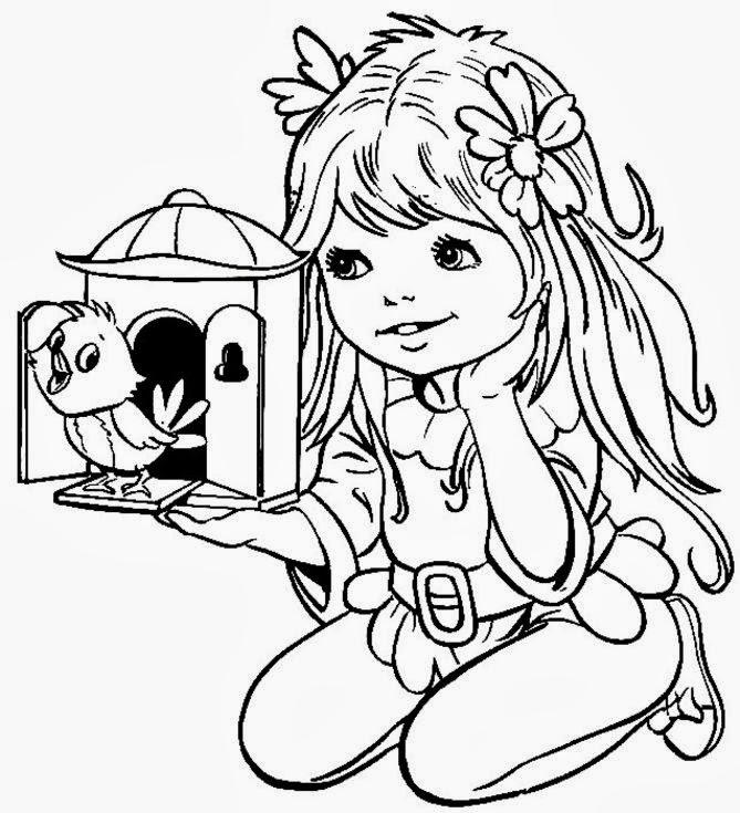 Desenho de Menina Soltando Pássaro da Gaiola Para Colorir ...