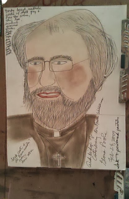 "drawing of ""Archbishop of Canterbury Rowan Williams"" by Gloria Poole. yr 2009"