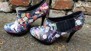 Shoes decorated with Cat Woman comic book images