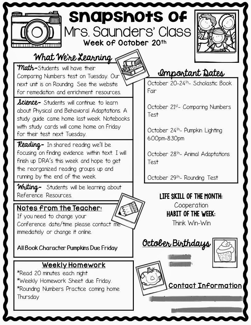 5th grade newsletter template - the teaching oasis parent communication