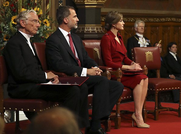 Queen Letizia visited the Palace of Westminster, British Parliament. Prince Charles and Duchess Camilla at Clarence House. Nina Ricci dress. Prada Pumps
