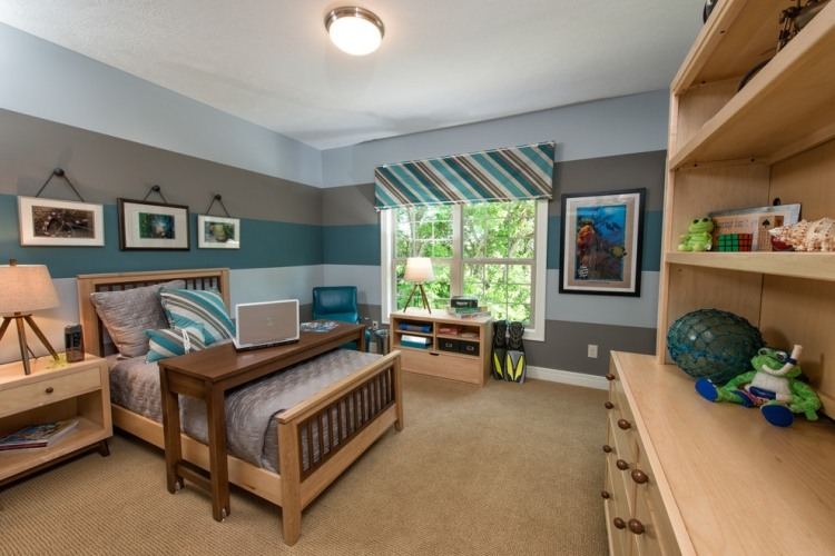mdchen blau farbgestaltung jugendzimmer schwarz vintage. linien ... - Raumgestaltung Ideen Jugendzimmer